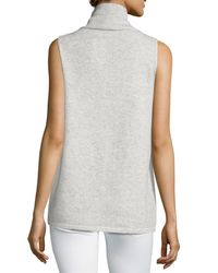 Lafayette 148 New York | Gray Vanise Sleeveless Mock-neck Cashmere Sweater | Lyst