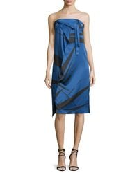 Halston Heritage - Blue Strapless Graphic Charmeuse Dress W/ Fold Details - Lyst