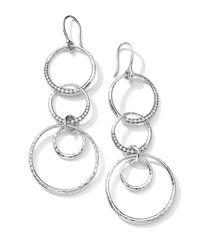 Ippolita Metallic Sterling Silver Multi-circle Drop Earrings With Diamonds (0.43ctw)