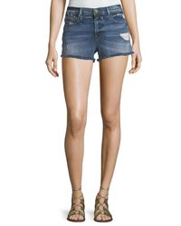 FRAME Blue Le Cutoff Denim Shorts With Released Waistband