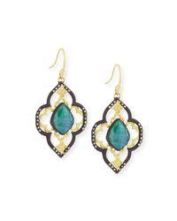 Armenta | Blue Old World Malachite/rainbow Moonstone Scroll Earrings | Lyst