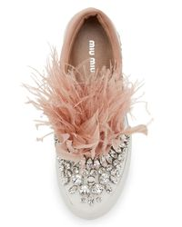 Miu Miu - Multicolor Jeweled Feather Skate Sneaker - Lyst