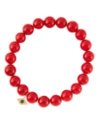 Sydney Evan - 8mm Red Coral Beaded Bracelet With 14k Yellow Gold/diamond Small Evil Eye Charm (made To Order) - Lyst