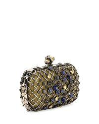Bottega Veneta - Metallic Metal Lattice Mini Knot Clutch Bag - Lyst