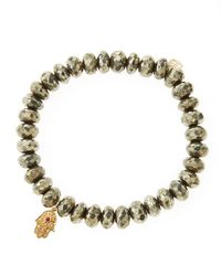 Sydney Evan - Metallic Champagne Pyrite Rondelle Beaded Bracelet With 14K Gold Hamsa Charm (Made To Order) - Lyst