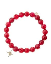 Sydney Evan - Red Agate Beaded Bracelet With 14K Gold/Diamond Small Starburst Charm (Made To Order) - Lyst