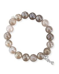 Sydney Evan - 10mm Faceted Gray Chalcedony Bead Bracelet With 14k Gold Love Charm - Lyst