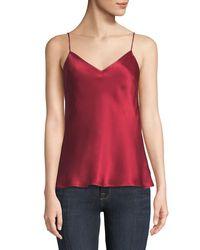 Galvan Red V-neck Thin-strap Satin Camisole Top