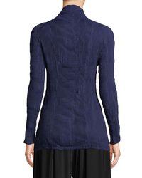 Issey Miyake Blue Long-sleeve High-neck Plisse Chiffon Top