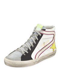 Golden Goose Deluxe Brand White Men's Slide Colorblock Leather High-top Sneakers for men