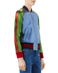 Gucci - Blue Metallic Leather Bomber Jacket With Snake Patch - Lyst