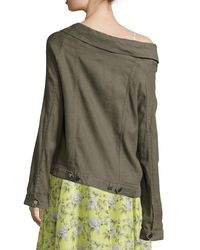 Robert Rodriguez | Green Off-the-shoulder Long Jacket | Lyst
