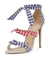 Alexandre Birman   Blue Lolita Gingham Three-strap Sandal   Lyst