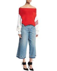 Monse Blue Asymmetric Cropped Wide-leg Jeans
