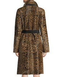 Lafayette 148 New York - Brown Kalena Leopard-print Calf Hair Coat W/ Suede Combo - Lyst