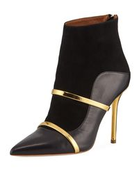 Malone Souliers Black Madison 100mm Napa/suede Point-toe Booties