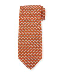 Ferragamo Orange Teddy Bear Silk Twill Tie for men