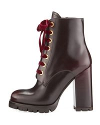 Prada - Red Vitello Leather Lace-up Bootie - Lyst