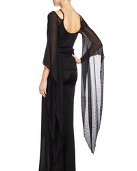 Balmain - Black Knit Top W/sheer Batwing Sleeves - Lyst