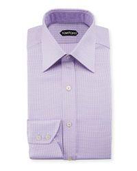 Tom Ford Purple Men's Houndstooth Dress Shirt for men