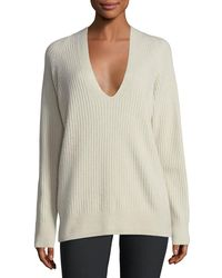Vince - Multicolor Raglan Ribbed Deep V-neck Wool-cashmere Sweater - Lyst