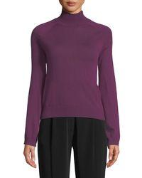 Co. Purple Long-sleeve Turtleneck Cashmere Sweater