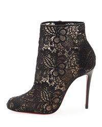 Christian Louboutin Black Miss Tennis Net Lace Red Sole Bootie
