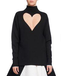 Proenza Schouler - Black Heart-cutout Mock-neck Top - Lyst