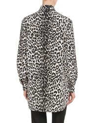 Givenchy - Black Leopard-print Button-down Long-sleeve Silk Blouse - Lyst