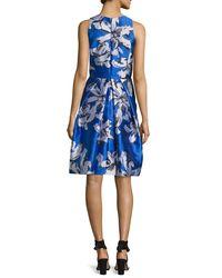 Carmen Marc Valvo - Blue Sleeveless Floral Silk Satin Cocktail Dress - Lyst