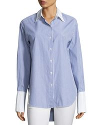 Rag & Bone - Blue Essex Striped Shirt With Contrast Trim - Lyst