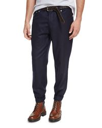 Brunello Cucinelli Blue Lightweight Flannel Wool Pants for men