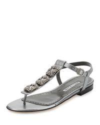 Manolo Blahnik - Metallic Ottolina Crystal T-strap Sandal - Lyst