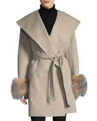 Sofia Cashmere | Multicolor Fur-cuff Open-front Belted Wool-cashmere Wrap Coat | Lyst