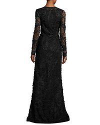 Oscar de la Renta - Black Beaded Long-sleeve V-neck Gown - Lyst