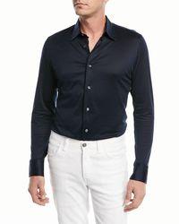 Brioni Blue Satin-finish Long-sleeve Sport Shirt for men