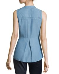 Veronica Beard - Blue Sleeveless Chambray Button-front Top - Lyst