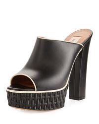Valentino - Black Woven Platform Mule Pump - Lyst