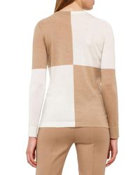 Akris - Natural Colorblock Crewneck Sweater - Lyst