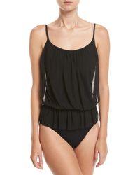 Gottex Black Lattice Bandeau Blouson One-piece Swimsuit