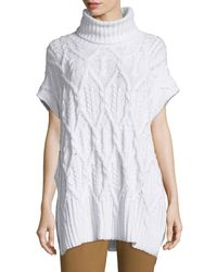 Theory - White Boseley C Auroral Cable-knit Short-sleeve Sweater - Lyst
