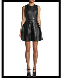 David Koma - Black Lamb Leather Fit-and-flare Pleated Mini Dress - Lyst