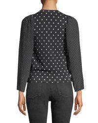 Rebecca Taylor Blue Dot-print Wool-silk Crewneck Pullover Top
