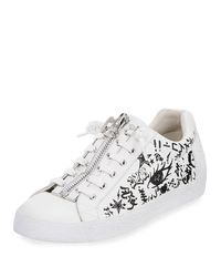 Ash - White Nova Printed Leather Zip-front Sneaker - Lyst