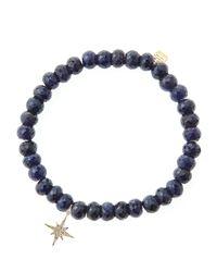 Sydney Evan - Blue Sapphire Rondelle Beaded Bracelet With 14K Gold/Diamond Small Starburst Charm (Made To Order) - Lyst
