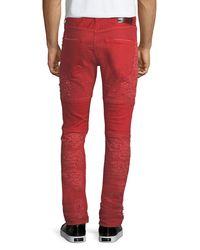 PRPS Orange Windsor Distressed Skinny Moto Jeans for men