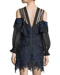 Self-Portrait Blue 3d Cold-shoulder Floral Lace Mini Dress