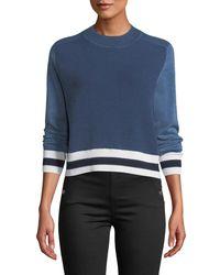 Rag & Bone Blue Dean Stripe Mock-neck Cotton/wool Sweater