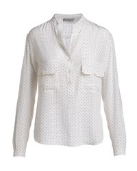 Vince White Silk Polka Dot Utility Shirt