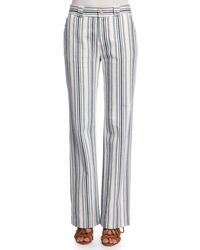 See By Chloé - Blue Striped Boot-cut Trousers - Lyst